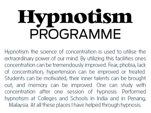 Hypnotism Programme